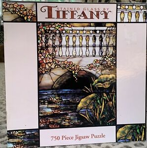 """Vintage Tiffany Stained Glass 750 Piece 24"""" x 18"""" Jigsaw Puzzle 1999 New, SEALED"""