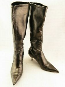 Donald J Pliner Italy Leather Tall Stretch Pull On Boots Metal Heels US 6 M