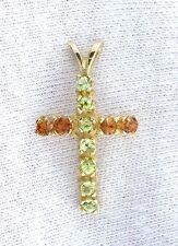 14Kt Yellow Gold Peridot Hessonite Garnet Gem Gemstone Cross Pendant EBS1826