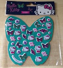 BNIP New 37 Hello Kitty Stickers on Butterfly Shaped Card - Butterflies Flowers