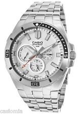Casio MTD1060D-7A Mens White Dial Stainless Steel Dress Watch 100M Diver NEW