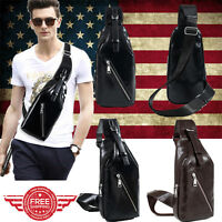 Men's Leather Crossbody Shoulder Chest Cycle Sling Satchel Backpack Day Bag M010