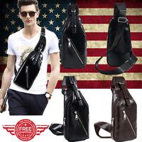 Men's Leather Crossbody Shoulder Chest Cycle Sling Satchel Backpack Day Bag M010