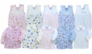 TERRY Cotton Baby boys girls babygrows 0-9 months 2pcs set NEW outfit SLEEPSUITS