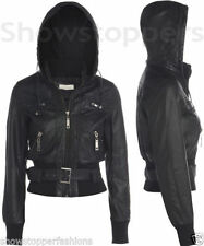 Faux Leather Hood Casual Coats & Jackets for Women