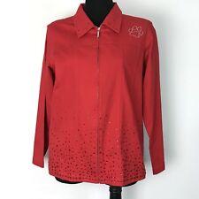 Quacker Factory Red Denim Jean Bling Jacket Jeweled Dog Paw M #G