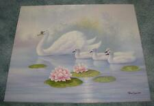 New listing VINTAGE SWAN SWANS CYGNETS POND LILY PADS LOTUS FLOWERS SWIMMING OIL PAINTING