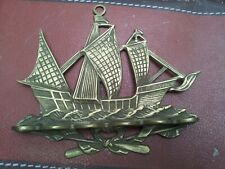 More details for vintage solid brass wall mounted sailing ship hanging pipe rack for 6 pipes