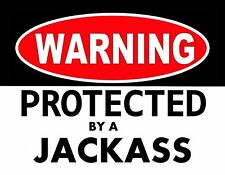 METAL MAGNET Warning Protected By Jackass Donkey Humor MAGNET