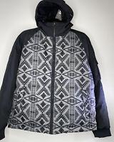 Pendleton Mens Black Diamond Aztec Southwestern Print Hooded Down Jacket Size L