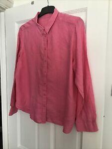 Ladies M&S Bright Pink Linen Shirt - Size 16