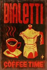 Bialetti Italian Coffee Pot and cup Retro style metal wall sign plaque, cafe bar