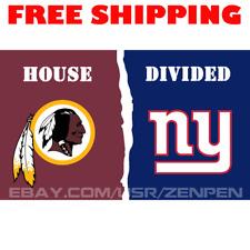Washington Redskins vs New York Giants House Divided Flag Banner 3x5 ft 2019 NEW
