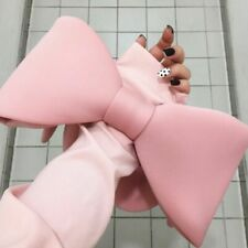Woman Pink Color Spliced Bow Many Wear Methods Handbag All Match
