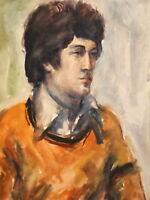 Vintage impressionist watercolor painting male portrait