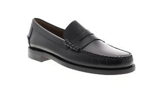 Sebago Classic Dan Mens Black Leather Loafers & Slip Ons Penny Shoes