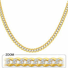 "5.75mm 20"" 22.80gm 14k Gold Solid Two Tone Cuban White Pave Men's Chain Necklace"