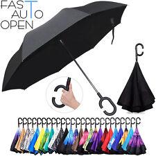 New C-Handle Double Layer Upside Down Reverse Opening Umbrella US Black