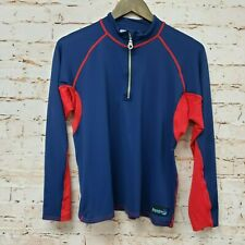 Sun Protection Zone Mens Shirt 1/2 Zip Long Sleeve Sz S Blue Red