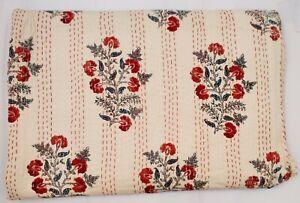 New Hand Block Print Kantha Quilt Indian Gudri Cotton  Coverlet Bedding V