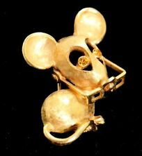Vintage AVON Mouse BROOCH pin rhinestone eyes Glasses MOVES~VERY cute & small