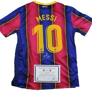 """*NEW* 2021 LIONEL MESSI SIGNED Barcelona NIKE® JERSEY w/COA Autographed """"LEO"""""""