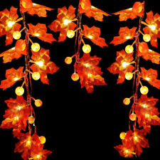Halloween Lichterkette Herbst Blättergirlande Ahornblatt Licht Außen Party Deko