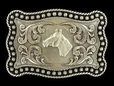 Nocona Western Mens Belt Buckle Horse Head Rope Edge Rectangular Silver 3759007
