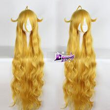 51''Fairy Tail Mavis Vermilion Golden Yellow  Long Cosplay Wig Heat Resistant