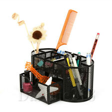 Office Desk Pen Holder Wire Mesh Pencil Organizer Black Metal Set of 3 School