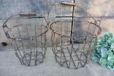 Set of 2 Small Wire Gathering Baskets Bucket Set w/ Wood Handle Urban Farmhouse