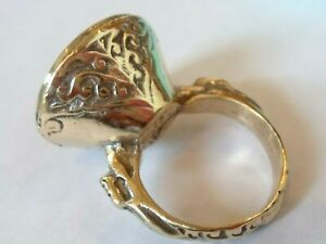 DETECTOR FIND & POLISHED,POST MEDIEVAL 'DRAGON' SILVER RING WITH INTAGLIO STONE