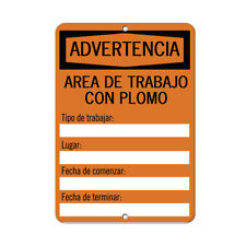 Vertical Metal Sign Multiple Sizes Warning Lead Type Work Completion Date