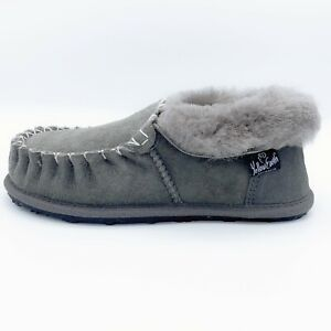 Unisex Ugg Moccasins Slippers 100% Australian Sheepskin Slip-on Grey Size AU 5.5