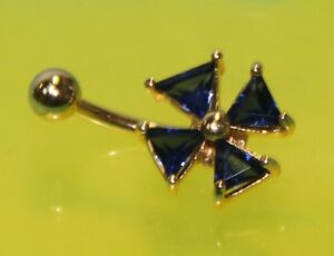 14K Y solid GOLD Body Piercing JEWELRY Bellybutton Navel Flower Blue Sapphire