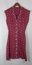 Vintage Hand Made Floral Button Up Red Dress with White Piping One of a Kind