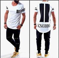 Designer Oversize T-Shirt Schwarz Weiß Herren Longtee Clubwear Slim Luxus NEU
