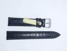 """DI-Modell Genuine Calf Leather Alligator Grain 18 mm BLACK Watch Band """"ORLANDO"""""""