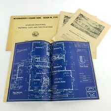 Vintage Architectural Blueprints Mid Century House Residential Drawings Plans