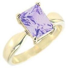 14K GOLD EP 4.5CT AMETHYST SOLITAIRE RING SIZE 8 or Q