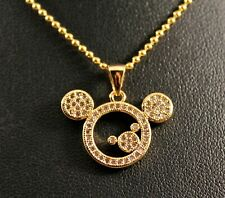 Alloy Rhinestone Mickey Mouse Pendant Necklace w/Free Jewelry Box and Shipping