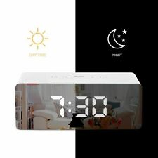 Led Digital Mirror Alarm Clock Usb Night Lights Wall Clock With Date Thermometer