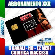 SCHEDA TESSERA ABBONAMENTO PER ADULTI 8 CANALI HD 12 MESI CODIFICA VIACESS XXX
