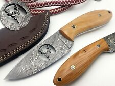 Custom Handmade Damascus Hunting Knife 8.5 inches Full Tang Stag Head on Blade