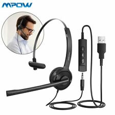 Mpow Computer Headset 3.5mm/USB Noise Cancelling Over Head Headphones Microphone