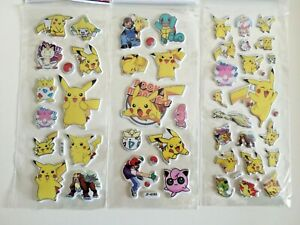 3 sheets set Pokemon Pikachu puffy Stickers Birthday gift bag kids craft
