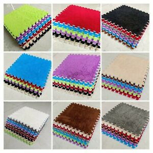 10 EVA Foam Mat Soft Floor Tiles Interlocking Rug / Shaggy Soft Feel 30 x 30 cm
