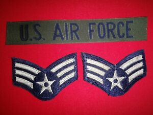 U.S AIR FORCE Print Pocket Tape + Pair Of USAF Sr. AIRMAN Small Chevrons