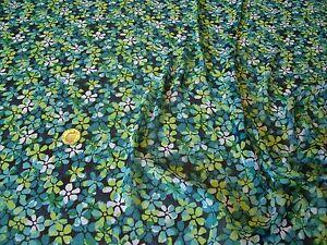 ITALIAN CRINKLE CHIFFON FLORAL PRINT-TURQUOISE/GREEN-DRESS FABRIC-FREE P&P
