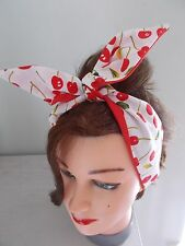 HEAD SCARF HAIR BAND CHERRY ROCKABILLY CHERRIES RED SWING PIN UP BUNNY RETRO